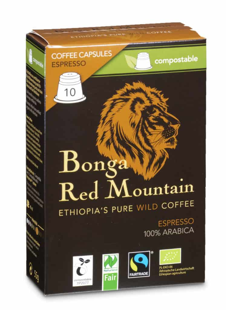 Bonga Red Mountain Espresso 10 Kapseln Bio/FT