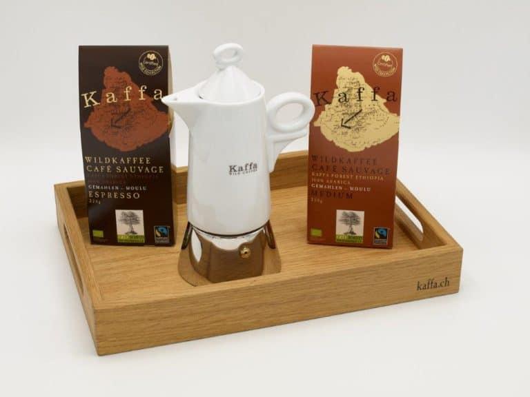 Kaffa Serviertablett mit Kaffa und Mokka-Kanne