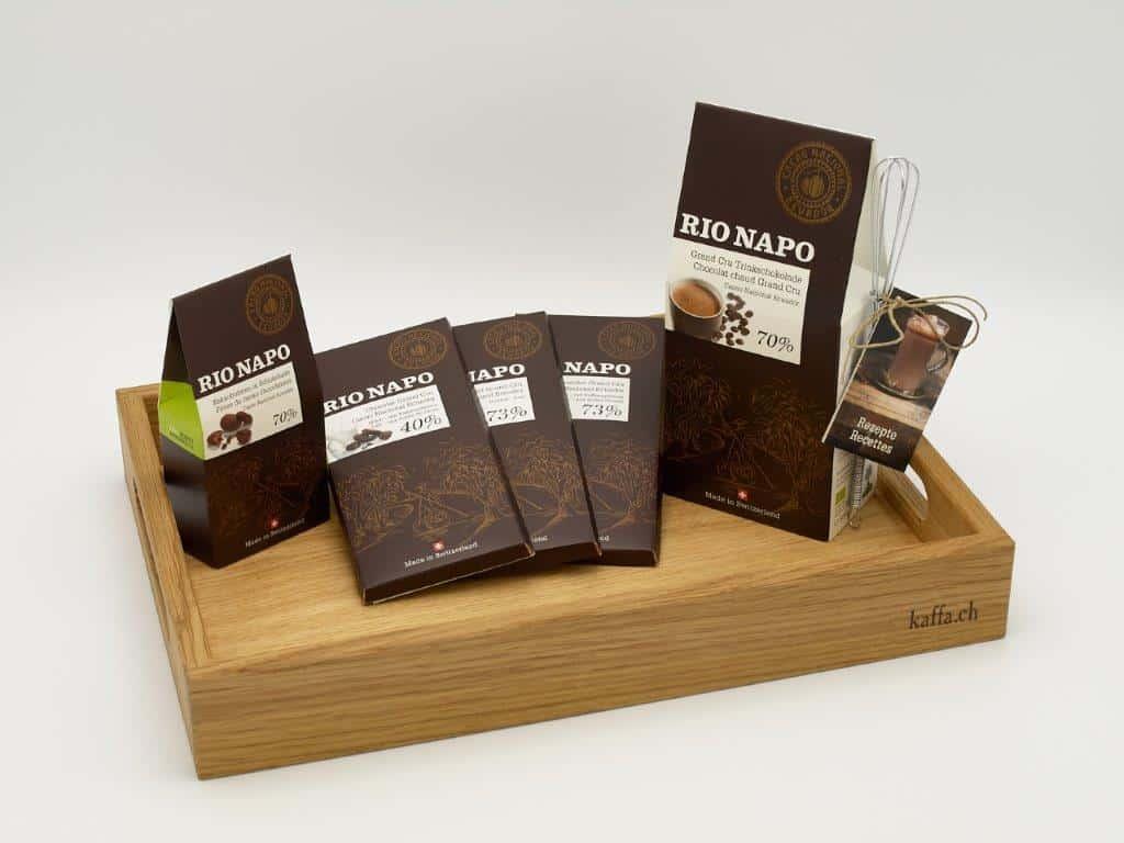 Kaffa Serviertablett mit Rio Napo Schokolade
